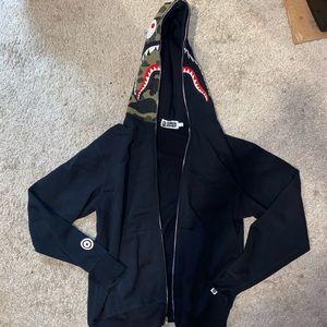 A BATHING APE shark full zip up hoodie camp hood